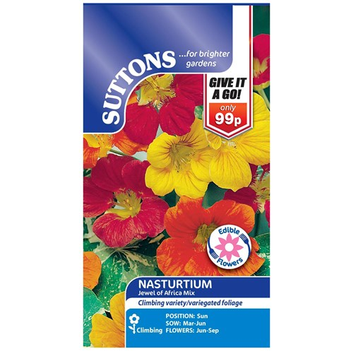 Suttons  Nasturtium Jewel Africa Mix Flower Seeds