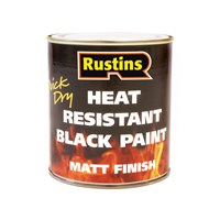 Rustins  Quick Dry Heat Resistant Black Paint 250ml