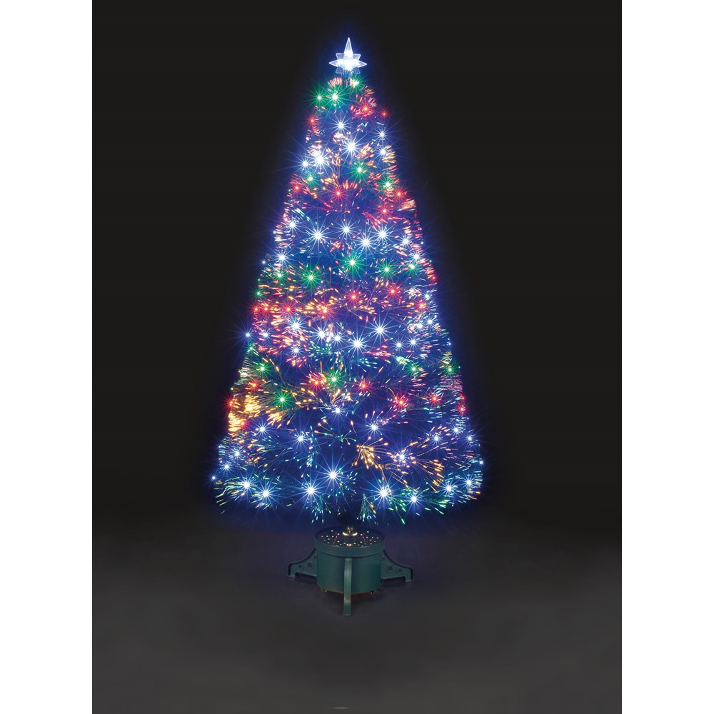 snowtime multi coloured led fibre optic christmas tree 150cm