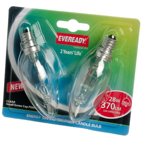 Eveready  Eco Halogen Candle Light Bulb 28W SES - 2 Pack
