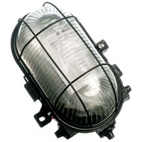 Powermaster  Oval Caged Bulkhead Light Black - 60W