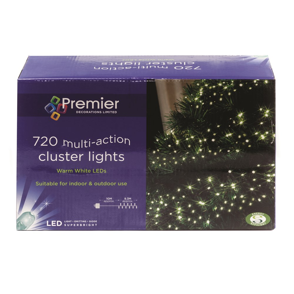 Premier Decorations 720 Led Cluster Lights Warm White Christmas